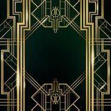 Great Gatsby Movie Inspiration Film Backdrop Background Poster. Signage Art Deco Architecture Gold Silver Graphic Design Texture royalty free illustration