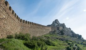 The Great Genoese Wall in Crimea. royalty free stock photos