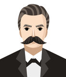 Great german philosopher. Moustache man Stock Image