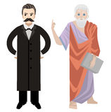 Great german philosopher standing. Great german philosopher moustache man Stock Image