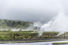 Great Geysir Strokkur in Iceland hot fog geology Royalty Free Stock Photo