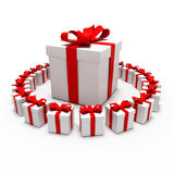 Great gift surrounded by small gifts Stock Image
