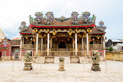 A great grand majestic clan temple Khoo Kong Si. Front view of a beautiful and grand clan temple in penang with traditional chinese craftsmanship roof Royalty Free Stock Image