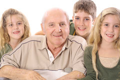 Great Grandchildren and Grandpa upclose. Shot of a Great Grandchildren and Grandpa upclose Royalty Free Stock Photography