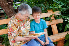 A great-grandmother reads a book to the great-grandchild. In a garden Royalty Free Stock Photo
