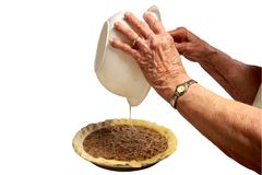 Great Great Grandma Makes A Pecan Pie Stock Images