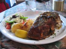 Great Greek food at Maria's Taverna on 4th Royalty Free Stock Photography