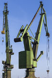 Great, green shipbuilding cranes Royalty Free Stock Images