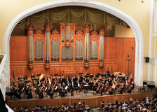 Great hall of conservatory in Moscow. Orchestra. Before beginning of the concert Royalty Free Stock Images