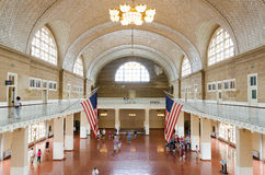 The great hall at Ellis Island. July 2015, New York, United States: The great hall at Ellis Island National Park in New York city, United States Royalty Free Stock Photos