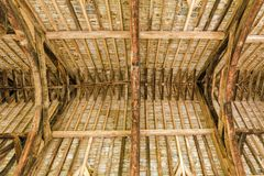 The Great Hall Roof Timbers, Stokesay Castle, Shropshire, England. An interior image showing the construction of the fabulous Great Hall's roof timbers. Three Stock Photography