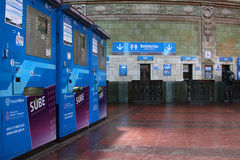 Great Hall ticket lobby of Retiro Station Stock Images