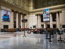 The Great Hall, Union Station, Chicago. Passengers wait in the sunlit Great Hall in Union Station, Chicago, Illinois Royalty Free Stock Image