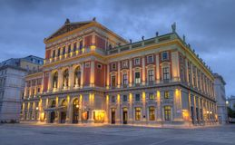 Great Hall of Wiener Musikverein, Vienna, Austria, HDR. Great Hall of Wiener Musikverein, Viennese Music Association, Home of Philharmonic orchestra by night stock photography