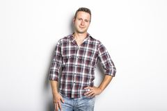 Handsome dude in grey, portrait. A great handsome dude in grey, portrait Royalty Free Stock Photo