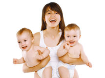 Great happiness, happy young mom with two twins baby Stock Photos