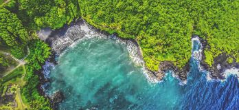Great Hawaii oceanfront aerial shot on summer royalty free stock photo