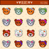 Great heads set Teddy bears of different colors Stock Photography