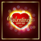 Great heart with sign Valentines happy day, glowing in dark, blurred defocus lifgts Royalty Free Stock Photography