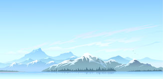 Great Himalayan snow peaks and cold water lake royalty free stock photos