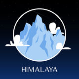 Great Himalayas mountain snow peak on night scene. Royalty Free Stock Photos