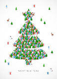 Great holiday gift card for the new year. Group of Santa Clauses, snowmen, deer, trees and Snow Maidens stand in the figure of the Christmas tree. Vector Royalty Free Stock Photos