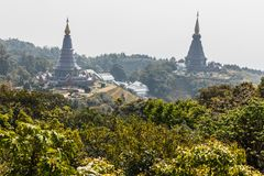 The Great Holy Relics Pagoda Nabhapolbhumisiri that viewd from Kew Mae Pan Mountain Ridge in Chiang Mai, Thailand.  Royalty Free Stock Photo