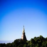 The Great Holy Relics Pagoda of Naphamethanidon - Naphaphilphumisiri , Flower garden blue sky #background , Doi Inthanon Royalty Free Stock Photo