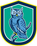 Great Horned Owl on Branch Shield Retro Stock Image