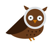 Great horned Owl, bubo virginianus subarcticus flat cartoon wildlife nature bird vector illustration. Royalty Free Stock Image