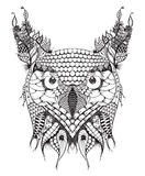 Great horned owl head zentangle stylized, vector, illustration, Royalty Free Stock Photo