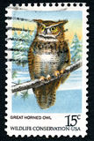 Great Horned Owl US Postage Stamp Stock Photo