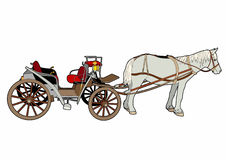 Great Horse Car. Vector illustration of a hitch, file eps 10 Stock Illustration