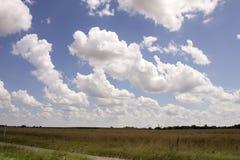 Great Hungarian Plain. Beautiful blue sky with clouds in the Great Hungarian Plain in Northern Hungary stock photo