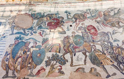 Great Hunting mosaic in Villa Romana del Casale Stock Image