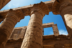 The Great Hypostyle Hall of the Temple of Karnak. Luxor, Egypt. Royalty Free Stock Photo