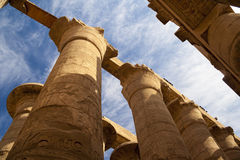 Great Hypostyle Hall at the Temples of Karnak. Great Hypostyle Hall and clouds at the Temples of Karnak (ancient Thebes). Luxor, Egypt Stock Photos