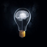Great idea concept. Idea concept with brain inside of light bulb royalty free stock photos