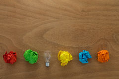 Great idea concept with crumpled colorful paper and light bulb Royalty Free Stock Photo