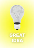 Great Idea concept with 3d rendered light bulb. Great Idea concept with 3d render illustraion of light bulb above shaded uppercase text on a glowing yellow Royalty Free Stock Images