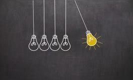 Great Idea. Creativity Concept with light bulbs on chalkboard Stock Photo