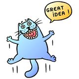 Great idea. Cute cat jumping and shout. Speech bubble. Vector Illustration. Stock Photos