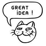 Great idea. Cute tomcat head. Speech bubble. Vector illustration. Royalty Free Stock Photo