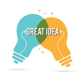 Great Idea Duo Lightbulb. Vector illustration of great idea of duo lightbulbs Royalty Free Stock Photography