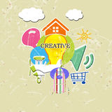 A great idea. Forms  of colored icons  with yellow light bulb Royalty Free Stock Photography