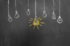 Great idea light bulb drawing on blackboard or chalkboard. As bright innovation smart strategy concept royalty free stock images