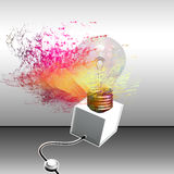 A great idea. Light bulb full of colors and energy with   electric  wire Stock Photos