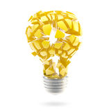 Great idea: shiny and glossy broken light bulb Royalty Free Stock Image