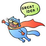 Great idea. Super cat flies and shout. Vector Illustration. Royalty Free Stock Photography