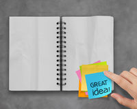 Great idea word sticky notes Royalty Free Stock Photos